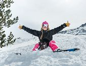 Joyful Young Woman Snowboarder