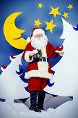 Santa Claus in a cartoon fairy snowy forest. Full length portrait.