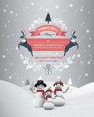 Digitally generated Merry christmas and happy new year vector