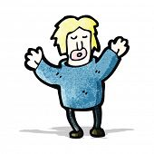 cartoon man with arms in air