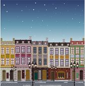 Old street town Christmas background greeting card