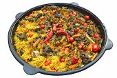 Pilaf With Meat, Spices, Garlic And Red Pepper