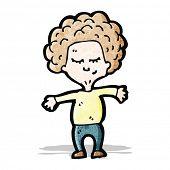 cartoon big hair boy