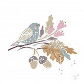 autumn theme - bird on a branch