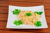 Pasta with shrimps sauce closeup