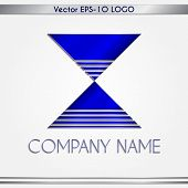Vector abstract blue and silver company name logo