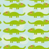 Funny Green Iguana Seamless Pattern With Cute Animal On A Blue Background