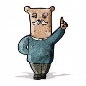 cartoon old bear with idea