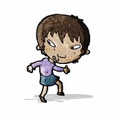 cartoon girl tiptoeing