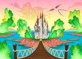 Fantasy landscape with castle. Somewhere inside me. Vector illustration