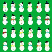 Different happy snowmen on a green background. EPS vector format.