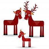 Deer And Fawn. Set Of Funny Animals With Cubs On White Background. Vector