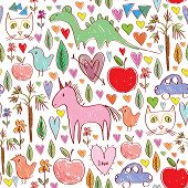 Girls Birthday Pink Seamless Pattern With Animals And Hearts. Vector