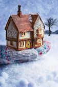 Winter cottage in gloved hand with snow