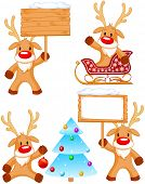Set of separately grouped little Rudolphs.