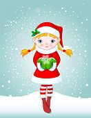 Cute Snow-maiden holding a beautiful Snowflake on snowing background