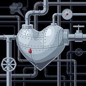 image of gout  - Heart with pipes - JPG