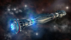 stock photo of battleship  - Futuristic military spacecraft in the initiating state of a warp drive - JPG