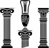 picture of olive shaped  - stencils of columns and hellenic jug - JPG