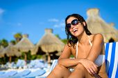 stock photo of mayan  - Joyful woman at tropical resort caribbean beach - JPG