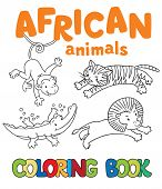 picture of african lion  - Coloring book or coloring picture with african animals - JPG
