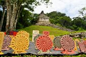 image of mayan  - Souvenirs in front of the ancient ruins of a Mayan temple - JPG