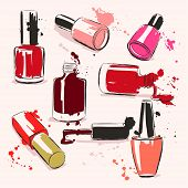 picture of nail-design  - Vector illustration with nail polish and splash paint - JPG