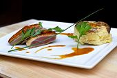 picture of duck breast  - Duck breast potato cake and meat sauce - JPG