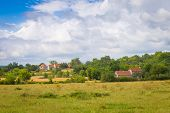 picture of barn house  - Typical French houses in Calvignac in Lot in France - JPG