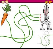 stock photo of maze  - Cartoon Illustration of Education Path or Maze Game for Preschool Children with Rabbit and Carrot - JPG