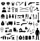 foto of truncheon  - vector crime icons - JPG