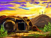 pic of jesus  - Easter Jesus Christ vector illustration  hand drawn  painted - JPG