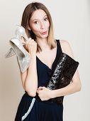 stock photo of black heel  - Elegant outfit - JPG