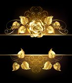 picture of rose  - Rectangular banner with luxurious golden rose on black background - JPG