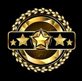 stock photo of laurel  - gold round emblem with five golden stars decorated with gold laurel wreath on a dark background - JPG