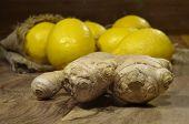 foto of zingiber  - photo of fresh juicy spicy ginger root  - JPG