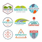 image of gps  - Navigation and gps auto map system label set isolated vector illustration - JPG