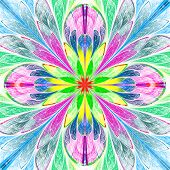 stock photo of symmetrical  - Multicolored symmetrical fractal flower in stained - JPG