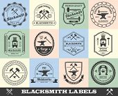 pic of blacksmith shop  - Blacksmith premium quality iron works black label set isolated vector illustration - JPG