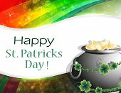 pic of pot gold  - Leprechaun pot with gold coins on rainbow background  - JPG