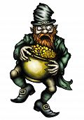 pic of pot gold  - Illustration angry Leprechaun with a pot of gold - JPG