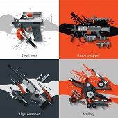 picture of artillery  - Weapon design concept set with small arms heavy light artillery flat icons isolated vector illustration - JPG