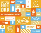stock photo of wiener dog  - Hot Dog Vector Icon and Typography Set - JPG