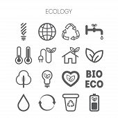 foto of monochromatic  - Set of simple monochromatic isolated ecology icons - JPG