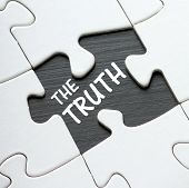 picture of missing  - The phrase The Truth on a blackboard revealed by a missing jigsaw puzzle piece - JPG