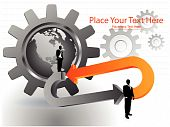 foto of marketing strategy  - businessmen standing on arrows with globe and gears - JPG