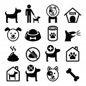 image of dog poop  - Vector icons set of dog isolated on white - JPG