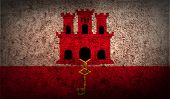 stock photo of gibraltar  - Flag of Gibraltar with old texture - JPG