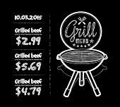 pic of barbecue grill  - Barbecue grill chalkboard vector illustration on black background - JPG