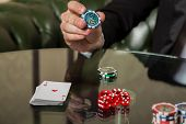 picture of poker hand  - Poker cards and chips on the table - JPG